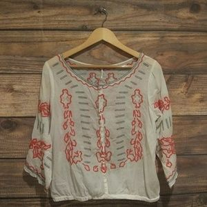 FREE PEOPLE Cream bold embroidered top sz M